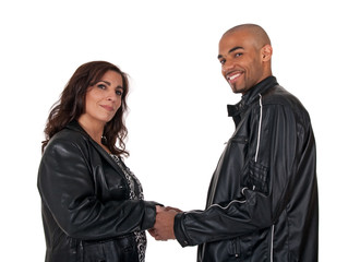 Adult multicultural couple holding hands