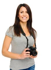 Pretty woman with camera