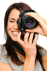 Artistic, creative woman taking pictures