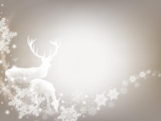 X-Mas Design mit Hirsch und Schneeflocken