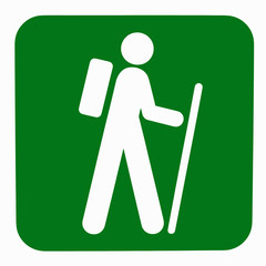 Green nature walk sign with white person figure
