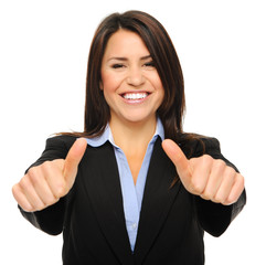 Sucessful business woman with two thumbs up