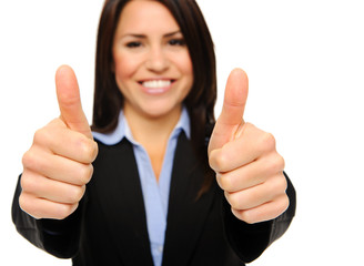 Satisfied business woman with thumbs up