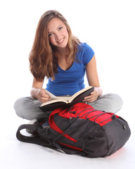 Teenage student girl reading school study book