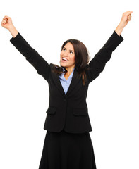 Business woman celebrates