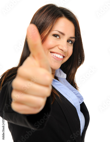 Pretty brunette thumbs up