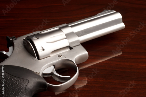 Close-up shot of .357 revolver on wooden surface