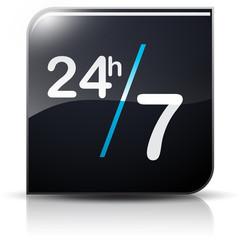Symbole glossy vectoriel horaires 24/24 7/7