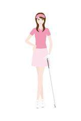 ゴルフクラブを持った女性