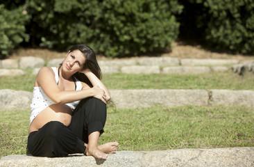 Beautiful pregnant woman relaxing