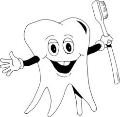 A happy tooth holding a toothbrush