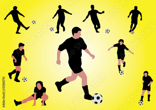 several soccer players shooting a ball