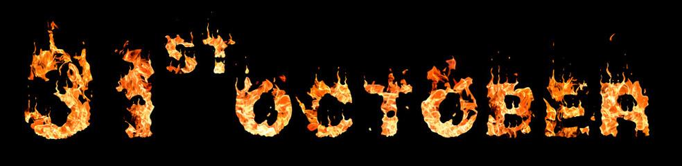 Fiery words 31st october on black