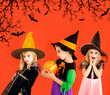 Halloween group of children girls costumes