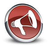 "Red 3D Style Icon ""Megaphone / Announcement Symbol"""