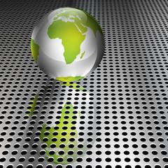 Metallic Green Globe on Chrome Grid