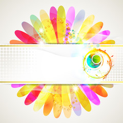 Banner design with colored flower background