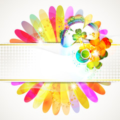 Banner design with colored flower background and clover