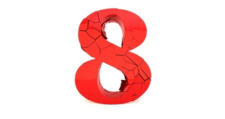 3D render of a shattered number eight