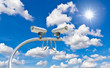 outdoor cctv cameras against blue sky and sunshine