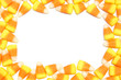 Halloween candy corn frame over white