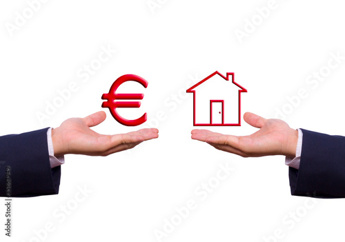 hand exchange euro sign and house icon