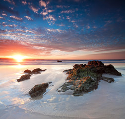 beautiful australian beach at sunset