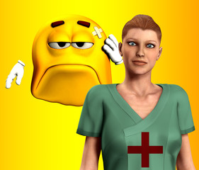Nurse And Hurt Cartoon Man