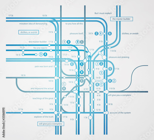 abstract infographics subway transportation plan