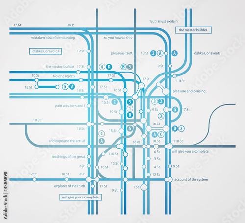 abstract infographics subway transportation plan