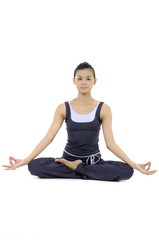 Beautiful girl practicing yoga on isolated white background