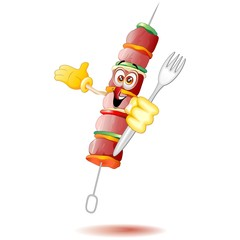 Spiedino di Carne Cartoon-Meat Skewer Kebab Comics-Vector