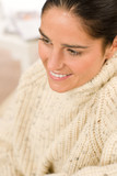 Winter portrait of happy woman wear pullover