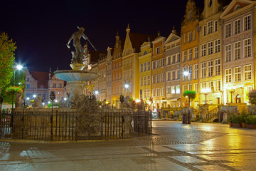 Gdansk by night, Poland.