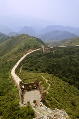 Aerial view from summit of Great Wall of China Jinshaling tower