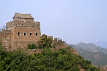Great Wall of China Jinshaling lookout tower with turrets