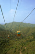 Cable cars traversing climb over green hills in summer