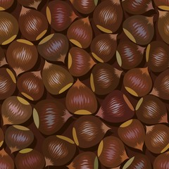 disorderly numerous ripe brown hazelnuts seamless background