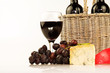red wine and cheeses