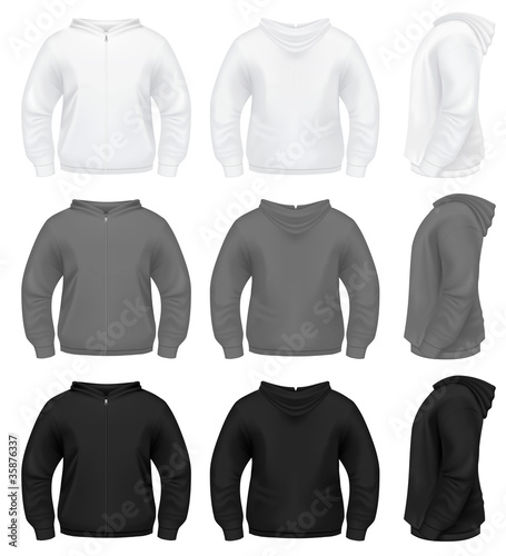 Realistic Men's Hoodie with Zipper
