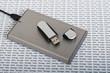 Leinwanddruck Bild - USB memory stick & portable hard drive