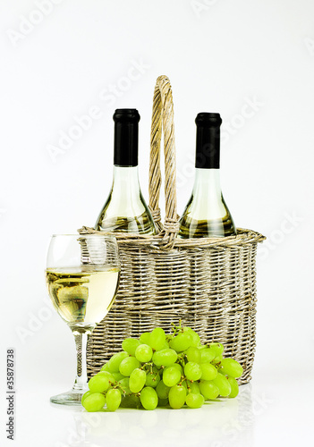white wine and basket
