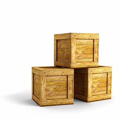 Three wood crates over white background