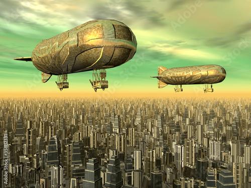 Megacity mit Luftschiffen