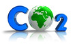 Atmospheric pollution concept: CO2 formula with Earth globe
