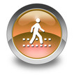 "Orange Glossy Pictogram ""Pedestrian Crossing"""