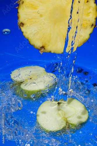 Fruit and splashing water