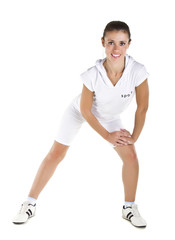 Beautiful girl in white sports clothes for sports