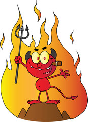 Devil Holding Up A Pitchfork And Smoking A Cigar