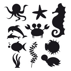 silhouette sea animals